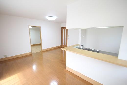 15.6畳のLDK、カウンター付きの対面型キッチン~専用ダイニングが有り戸建て感覚の間取りです